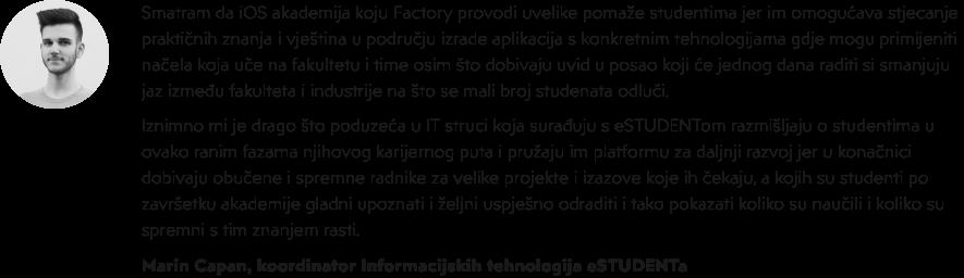 iOS akademija u Factoryju - Marin Capan - eStudent